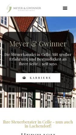 Vorschau der mobilen Webseite www.meyer-gwinner.de, Meyer & Gwinner - Steuerberater