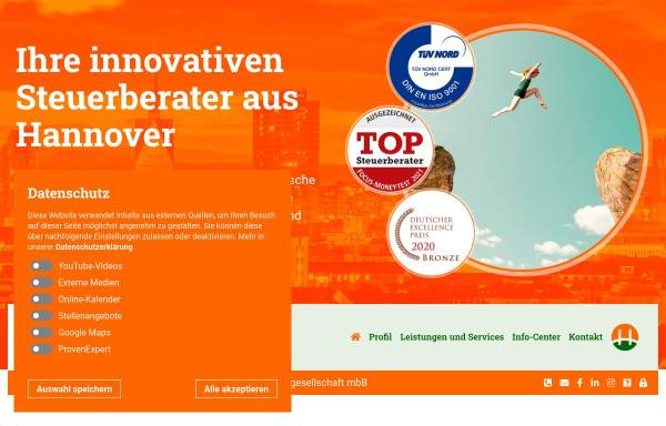 Vorschau von www.hsp-steuerberater-hannover.de, Henniges, Schulz & Partner Steuerberatungsgesellschaft