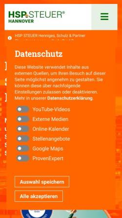 Vorschau der mobilen Webseite www.hsp-steuerberater-hannover.de, Henniges, Schulz & Partner Steuerberatungsgesellschaft