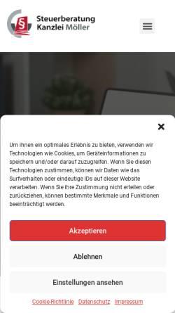 Vorschau der mobilen Webseite myriam-moeller.de, Myriam Möller Diplom-Kauffrau (FH), Steuerberaterin