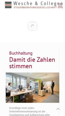 Vorschau der mobilen Webseite www.wmwsteuer.de, Willenbrock, Wesche & Collegen Steuerberatungsgesellschaft OHG