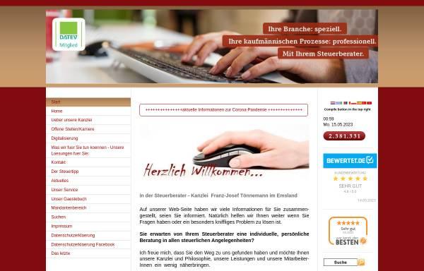 Vorschau von www.toennemann.de, Franz-Josef Tönnemann Steuerberater