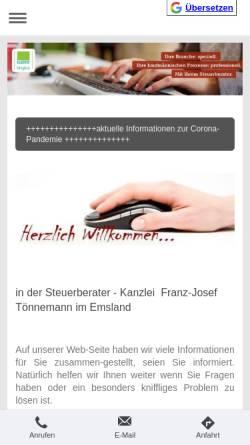 Vorschau der mobilen Webseite www.toennemann.de, Franz-Josef Tönnemann Steuerberater