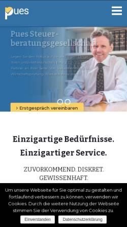 Vorschau der mobilen Webseite pues.de, Steuerberatungsgesellschaft Pues GmbH