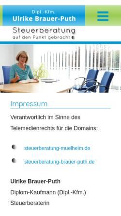 Vorschau der mobilen Webseite www.steuerberatung-muelheim.de, Steuerberatungspraxis Brauer-Puth