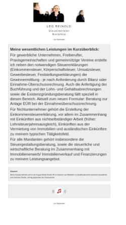 Vorschau der mobilen Webseite www.steuerberater-reinold.de, Leo Reinold - Steuerberater