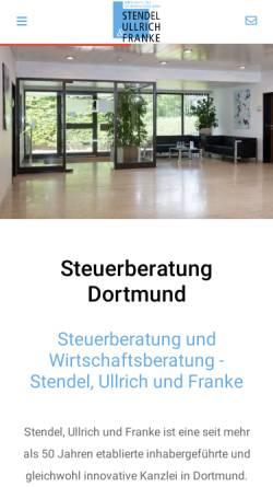 Vorschau der mobilen Webseite www.stendel-ullrich-franke.de, Wirtschafts- und Steuerberatungsgesellschaft mbH Stendel, Ullrich & Franke