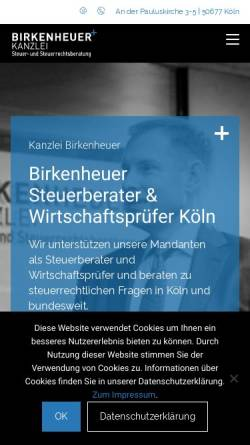 Vorschau der mobilen Webseite www.birkenheuer.com, Birkenheuer Steuerberatungsgesellschaft mbH