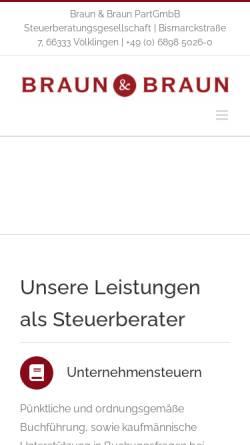 Vorschau der mobilen Webseite www.steuerberater-braun.de, Braun & Braun PartGmbB