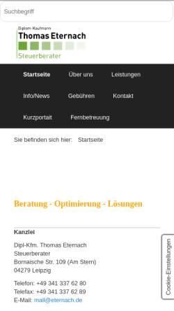 Vorschau der mobilen Webseite www.eternach.de, Steuerkanzlei Elke Eternach