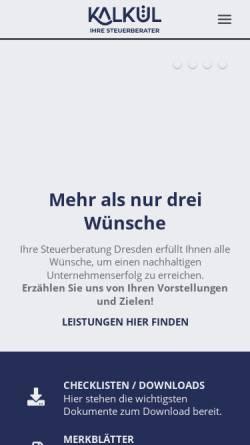 Vorschau der mobilen Webseite www.kalkuel-dresden.de, Kalkül Dresden GmbH