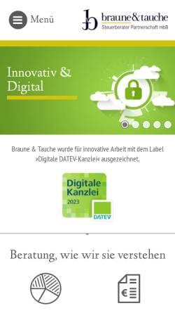 Vorschau der mobilen Webseite www.braune-tauche.de, Braune und Tauche Steuerberater Partnerschaft mbB