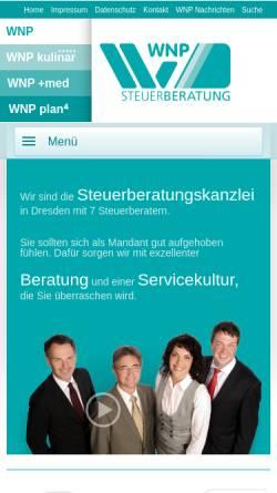 Vorschau der mobilen Webseite www.wnp-dresden.de, WNP Dr. Wasmer Thaller und Partner Steuerberatungsgesellschaft