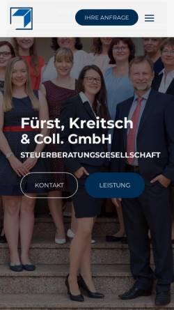 Vorschau der mobilen Webseite www.fuerst-und-kreitsch.de, Fürst, Kreitsch und Collegen Steuerberatungsgesellschaft mbH