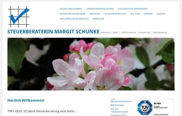 Vorschau von www.stbschunke.de, Steuerbüro Schunke, Inh. Dipl.-Oec. Margit Schunke