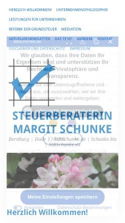 Vorschau der mobilen Webseite www.stbschunke.de, Steuerbüro Schunke, Inh. Dipl.-Oec. Margit Schunke