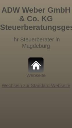 Vorschau der mobilen Webseite www.steuerberater-in-magdeburg.com, ADW Weber GmbH & Co.KG Steuerberatungsgesellschaft
