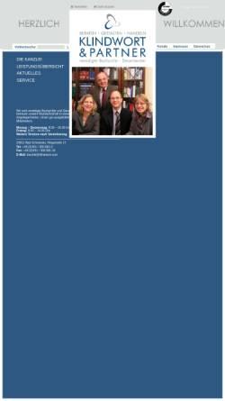 Vorschau der mobilen Webseite www.klindwort.com, Klindwort und Partner - Steuerberater