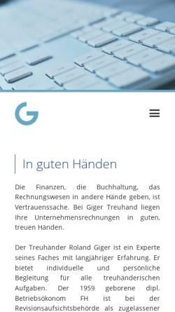 Vorschau der mobilen Webseite www.gigertreuhand.ch, AG Giger Treuhand