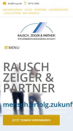 Vorschau der mobilen Webseite www.rzup.de, Rausch, Zeiger und Partner Steuerberater - Rechtsanwalt Partnerschaftsgesellschaft