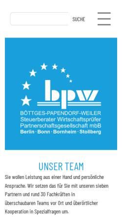 Vorschau der mobilen Webseite www.bpw-online.de, Böttges - Papendorf - Weiler