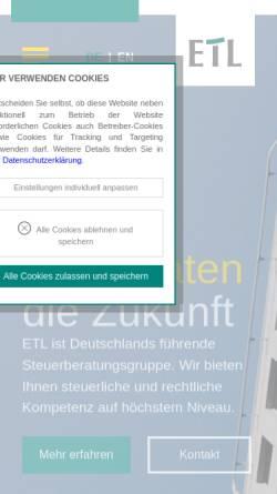 Vorschau der mobilen Webseite www.etl.de, ETL European Tax & Law e. V.