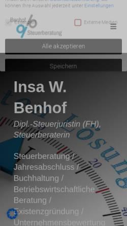 Vorschau der mobilen Webseite www.benhof.de, Steuerbüro Benhof