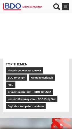 Vorschau der mobilen Webseite www.bdo.de, BDO AG Wirtschaftsprüfungsgesellschaft