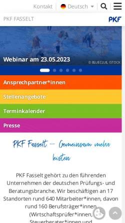 Vorschau der mobilen Webseite www.pkf-fasselt.de, PKF Deutschland GmbH