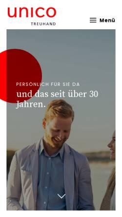 Vorschau der mobilen Webseite www.unico.ch, Unico Treuhand AG