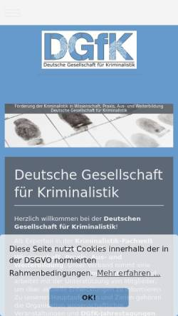 Vorschau der mobilen Webseite www.kriminalistik.info, Deutsche Gesellschaft für Kriminalistik e.V.