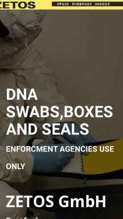 Vorschau der mobilen Webseite www.zetos.ch, Zetos GmbH