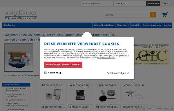 Vorschau von webshop.voigtlaendertechnik.de, Voigtländer Polizei- und Kriminaltechnik GmbH