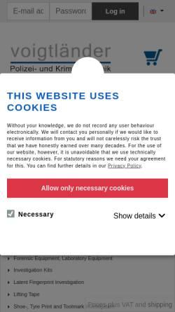 Vorschau der mobilen Webseite webshop.voigtlaendertechnik.de, Voigtländer Polizei- und Kriminaltechnik GmbH