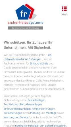 Vorschau der mobilen Webseite www.fr-sicherheitssysteme.de, FR Sicherheitssysteme GmbH
