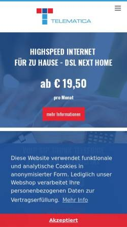 Vorschau der mobilen Webseite www.telematica.at, Telematica Internet Service Provider GmbH