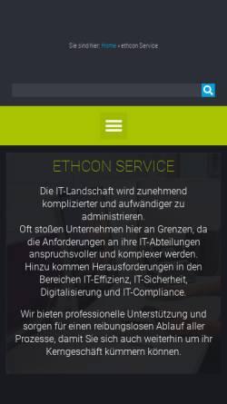 Vorschau der mobilen Webseite ethcon-services.de, Ethcon GmbH