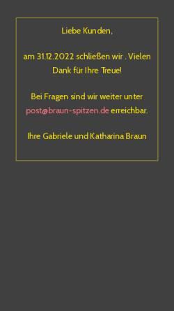 Vorschau der mobilen Webseite www.braun-spitzen.de, Braun Spitzen und Tülle GmbH & Co.KG