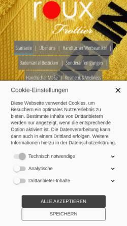 Vorschau der mobilen Webseite www.handtuch-werbeartikel.de, Sh-Ex Cltohs e.K. Inh. Tufan Celik