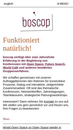 Vorschau der mobilen Webseite www.boscop.org, Boscop eG
