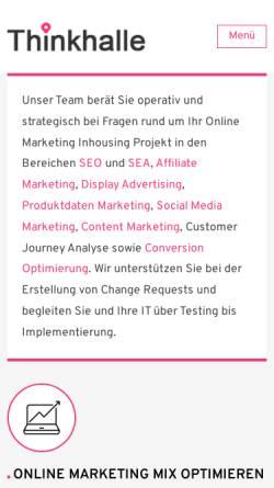 Vorschau der mobilen Webseite www.thinkhalle.de, Thinkhalle