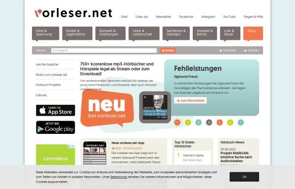 Vorschau von www.vorleser.net, Vorleser.net - Literatur zum Hören