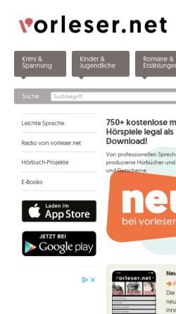 Vorschau der mobilen Webseite www.vorleser.net, Vorleser.net - Literatur zum Hören