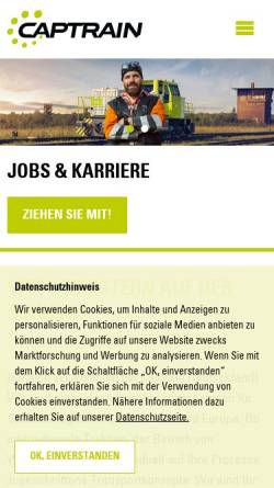 Vorschau der mobilen Webseite www.captrain.de, Dortmunder Eisenbahn GmbH
