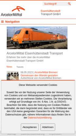 Vorschau der mobilen Webseite www.arcelormittal-ehst-transport.com, ArcelorMittal Eisenhüttenstadt Transport GmbH