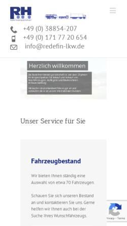 Vorschau der mobilen Webseite www.redefin-lkw.de, Redefiner Handelsgesellschaft mbH
