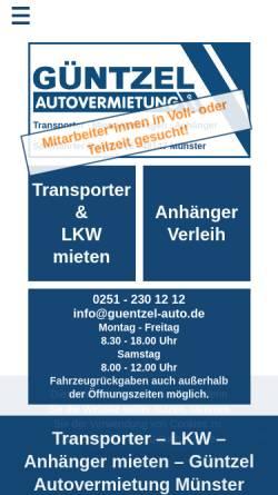 Vorschau der mobilen Webseite guentzel-autovermietung.de, Güntzel Autovermietung GmbH