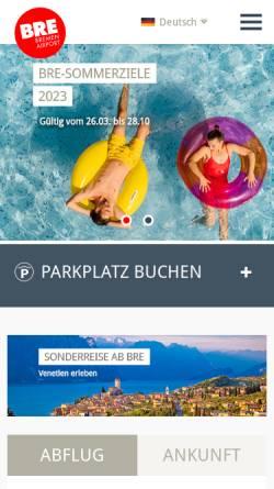 Vorschau der mobilen Webseite www.bremen-airport.com, Bremen Airport