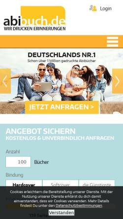 Vorschau der mobilen Webseite www.abibuch.de, Abibuch.de