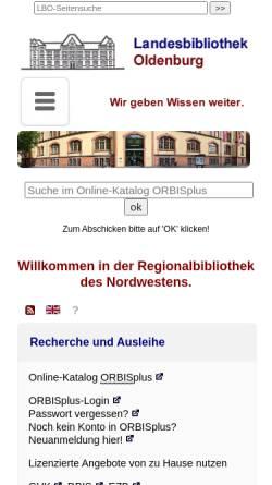 Vorschau der mobilen Webseite www.lb-oldenburg.de, Landesbibliothek Oldenburg